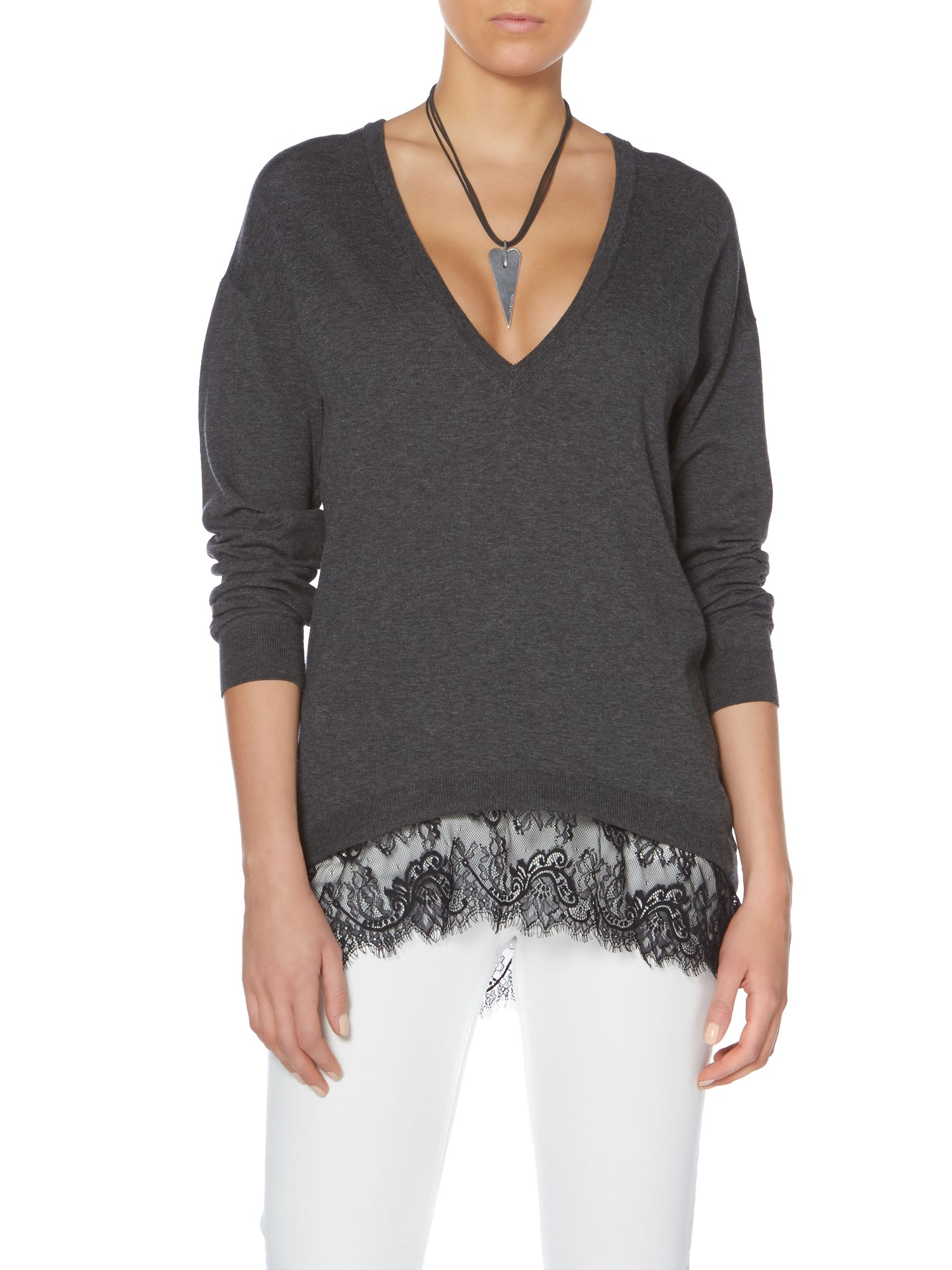 V neck lace trim pullover