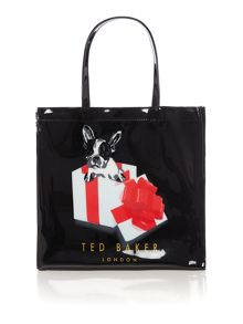 Black large cotton dog bowcon tote bag