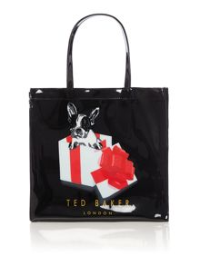 Black small cotton dog bowcon tote bag