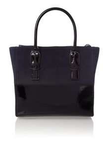 Navy large ombre leather tote bag