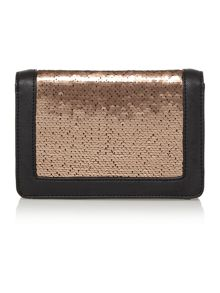 Rose gold small sequin clutch bag