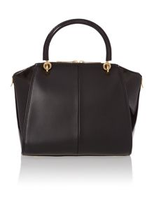 Black bow leather small tote bag
