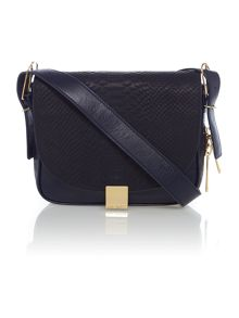 Blue texture large leather cross body bag