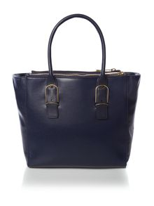 Blue texture large leather tote bag