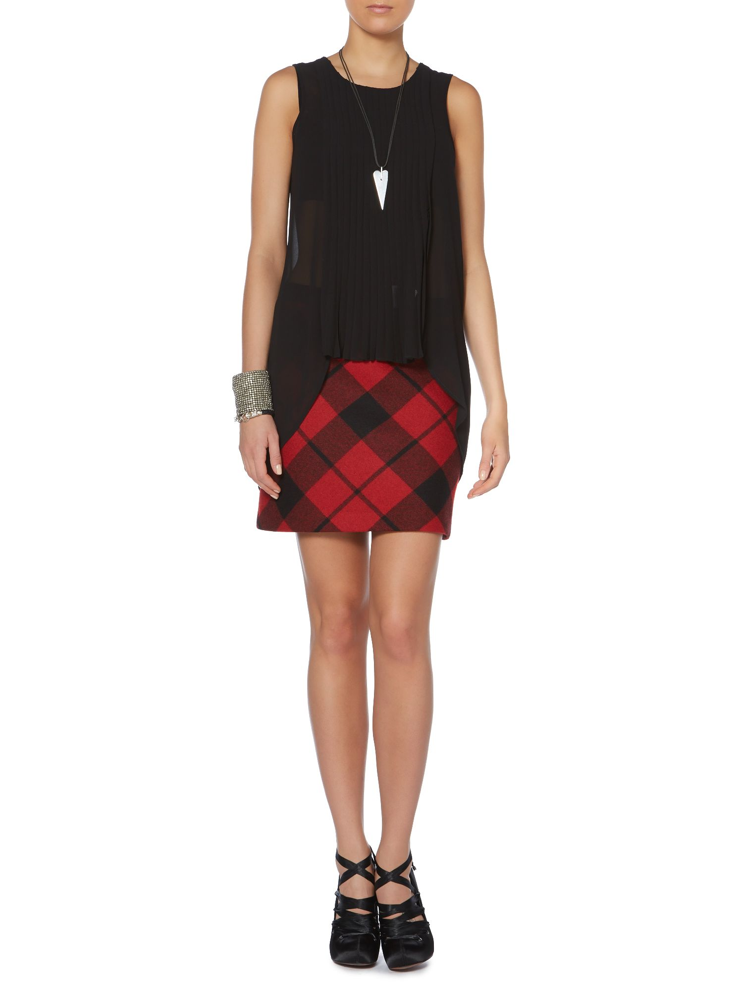 Check plaid wool mini skirt