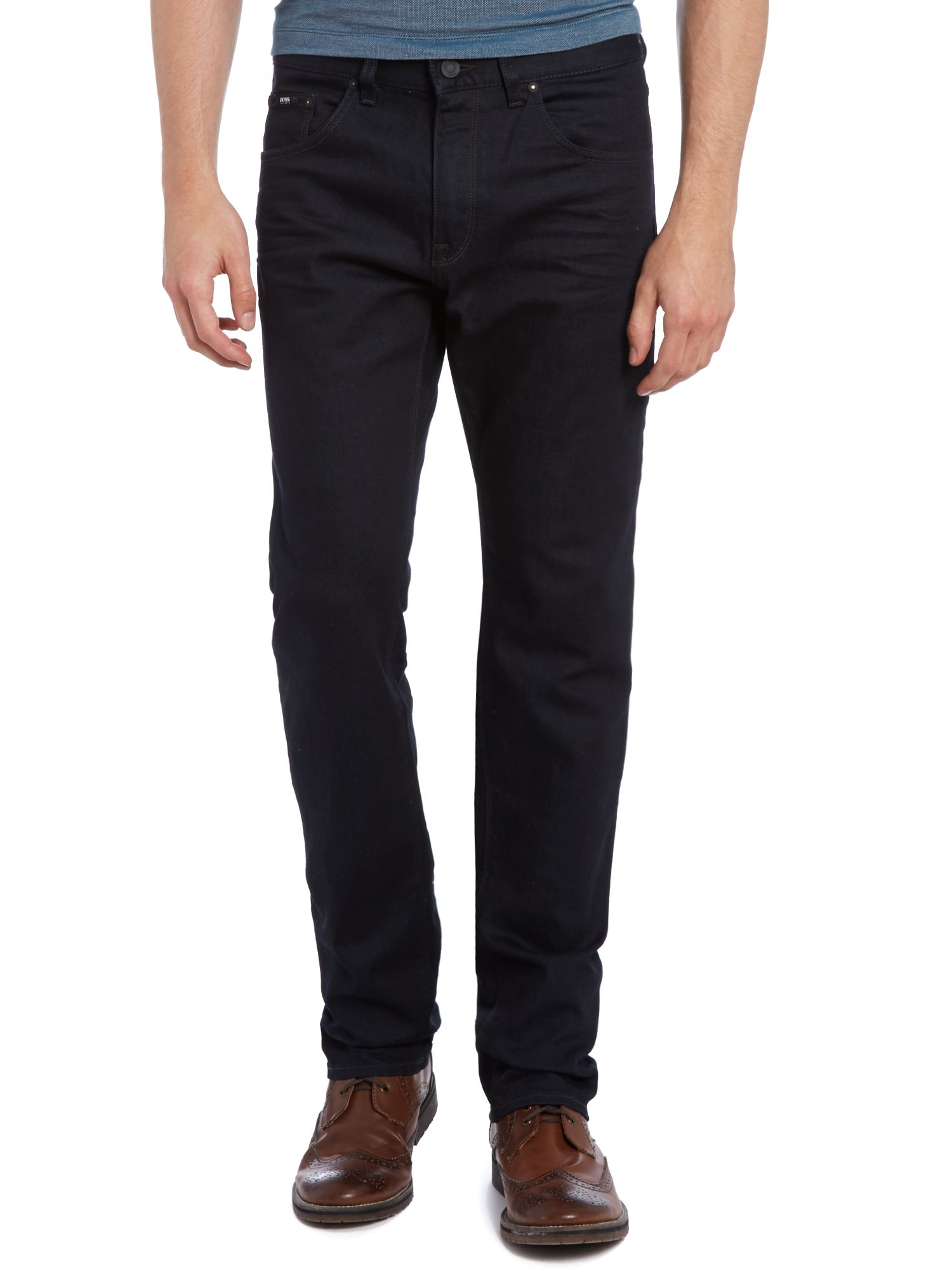 Maine regular straight black wash jean