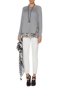 Double layered knitted top with animal print trim