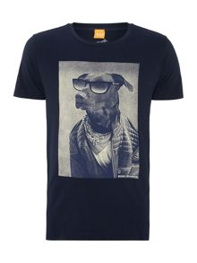 Dog with glasses printed t shirt