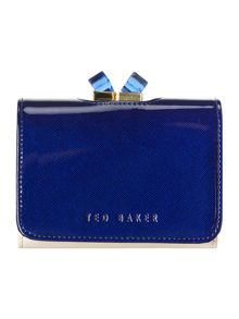 Blue small pearlised crystal top flapover purse