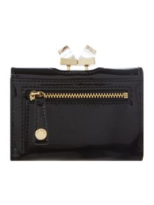 Black small patent crystal top flapover purse