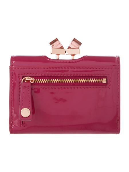 Ted Baker Purple small patent crystal top flapover purse