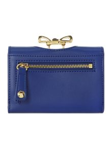 Blue small crystal bow top flapover purse