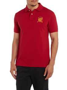 Custom fit short sleeve crest logo polo shirt