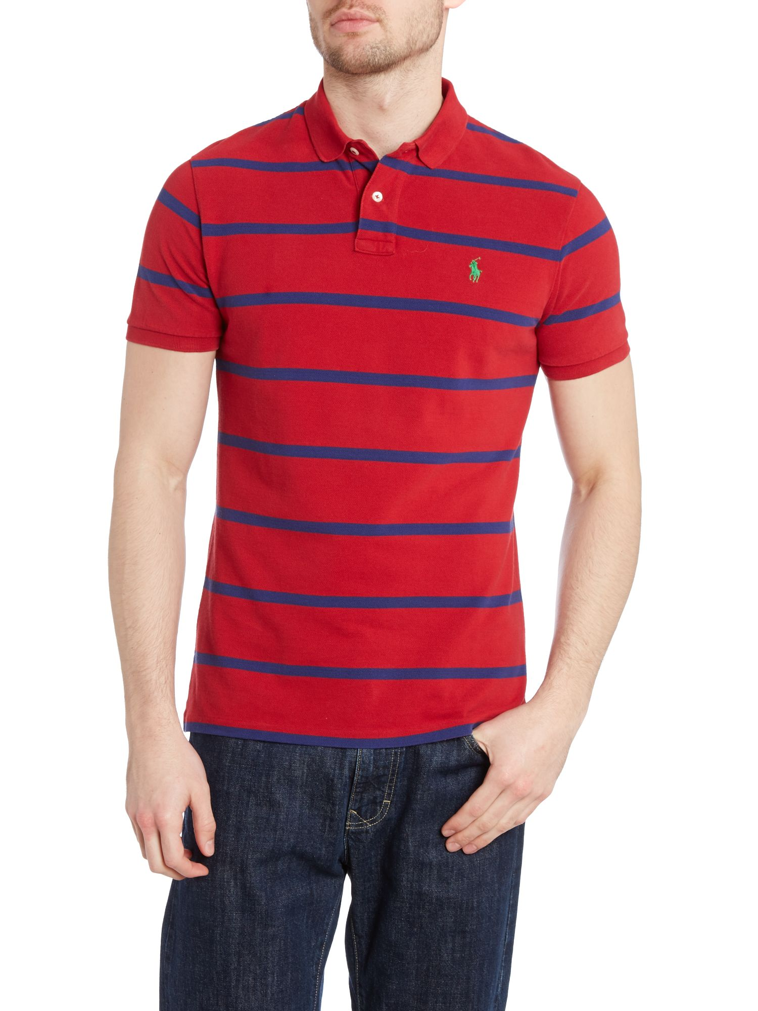 Custom fit short sleeve stripe polo shirt