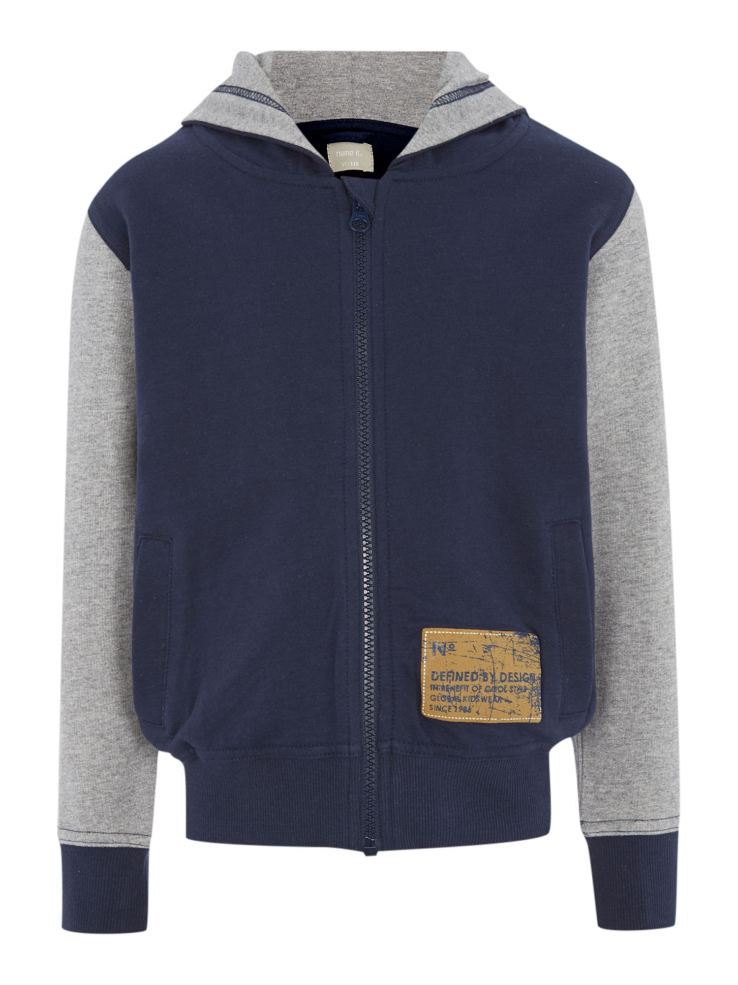 Boys zip through sweat top with contrast sleeve