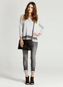 Silver Grey Layer Hem Knit