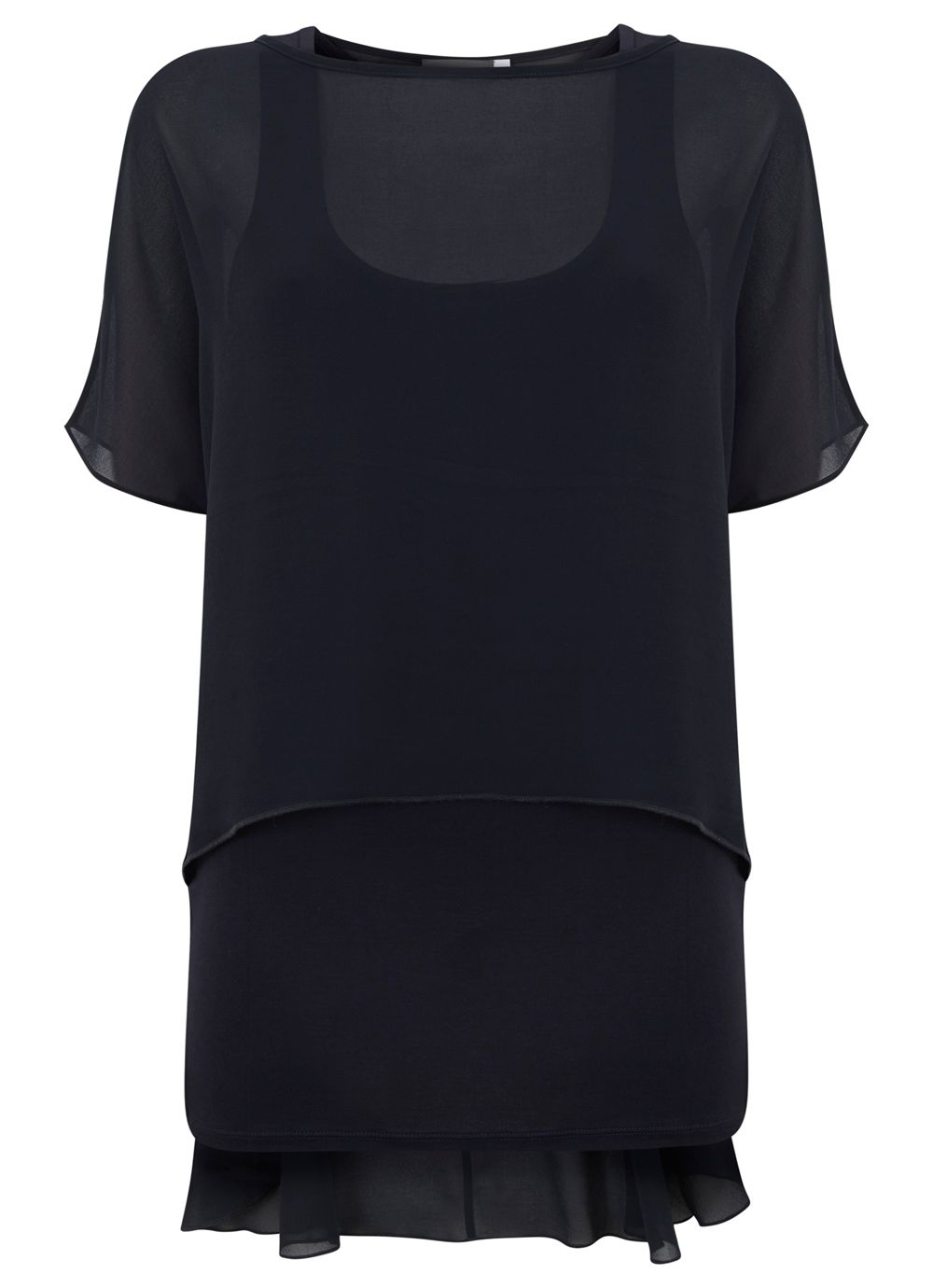 Navy Peplum Double Layer Top