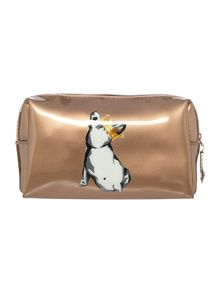 Gold cotton dog small cosmetics bag