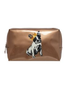 Gold cotton dog large cosmetics bag