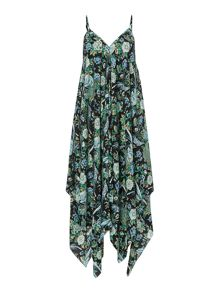 Oriental Bird hankerchief hem beach dress