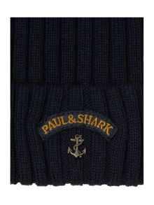 Ribbed badge beanie hat