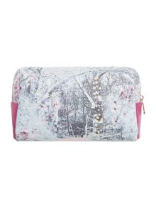 Multicoloured snow blossom large cosmetics bag