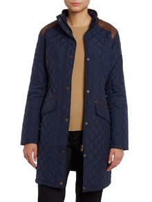 Long line quilted jacket with shoulder patches