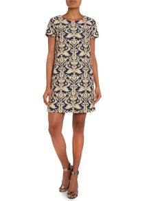 Hoss Intropia Short Sleeve Jacquard Shift Dress