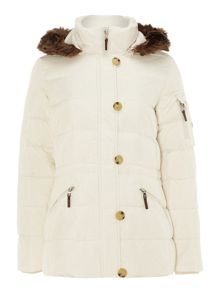 Anorak jacket with faux fur hood