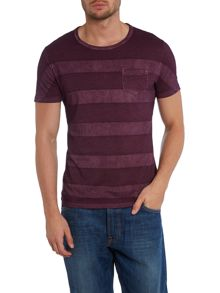 Washed stripe short sleeve t shirt