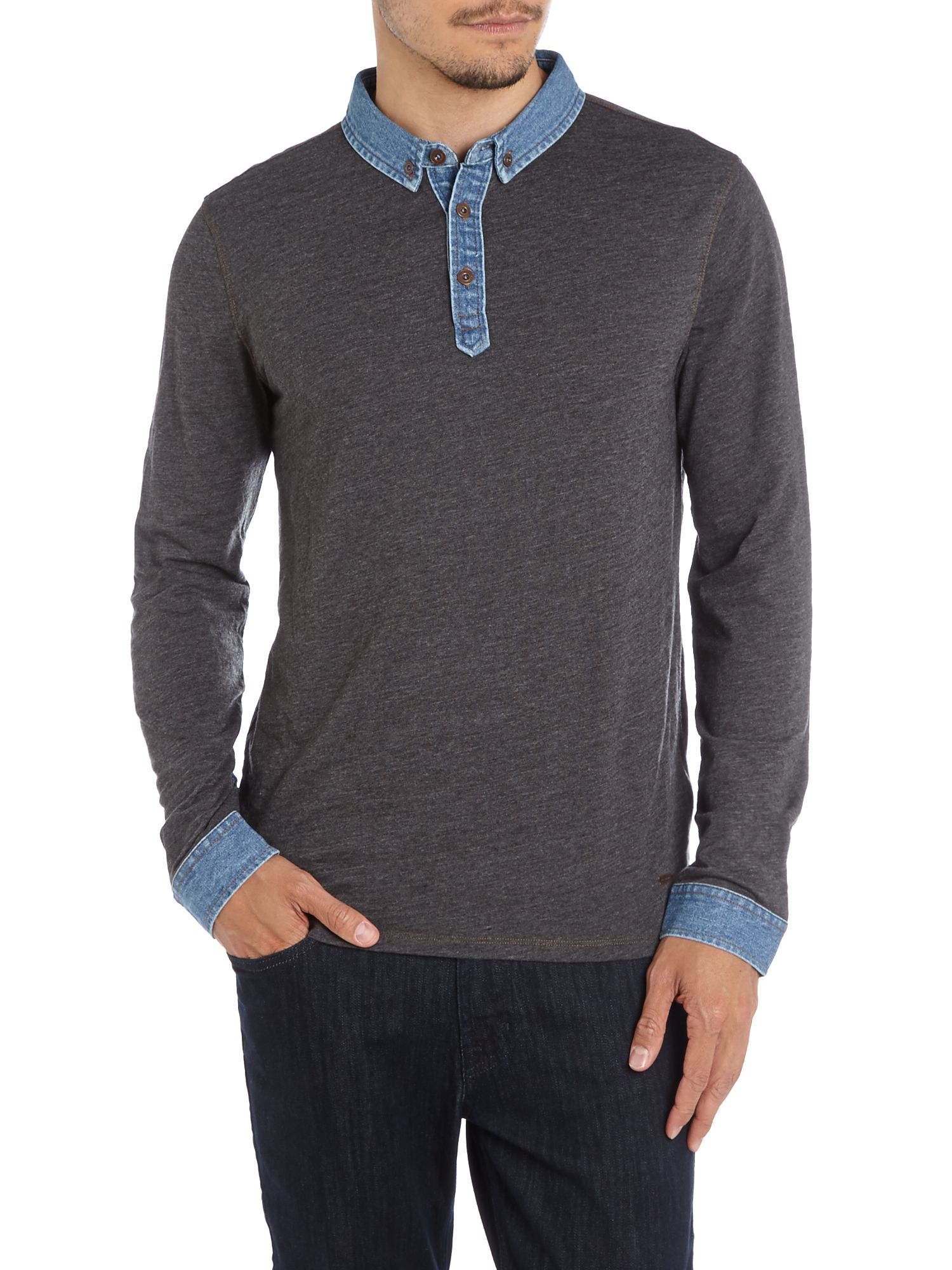Long sleeve denim collar polo shirt