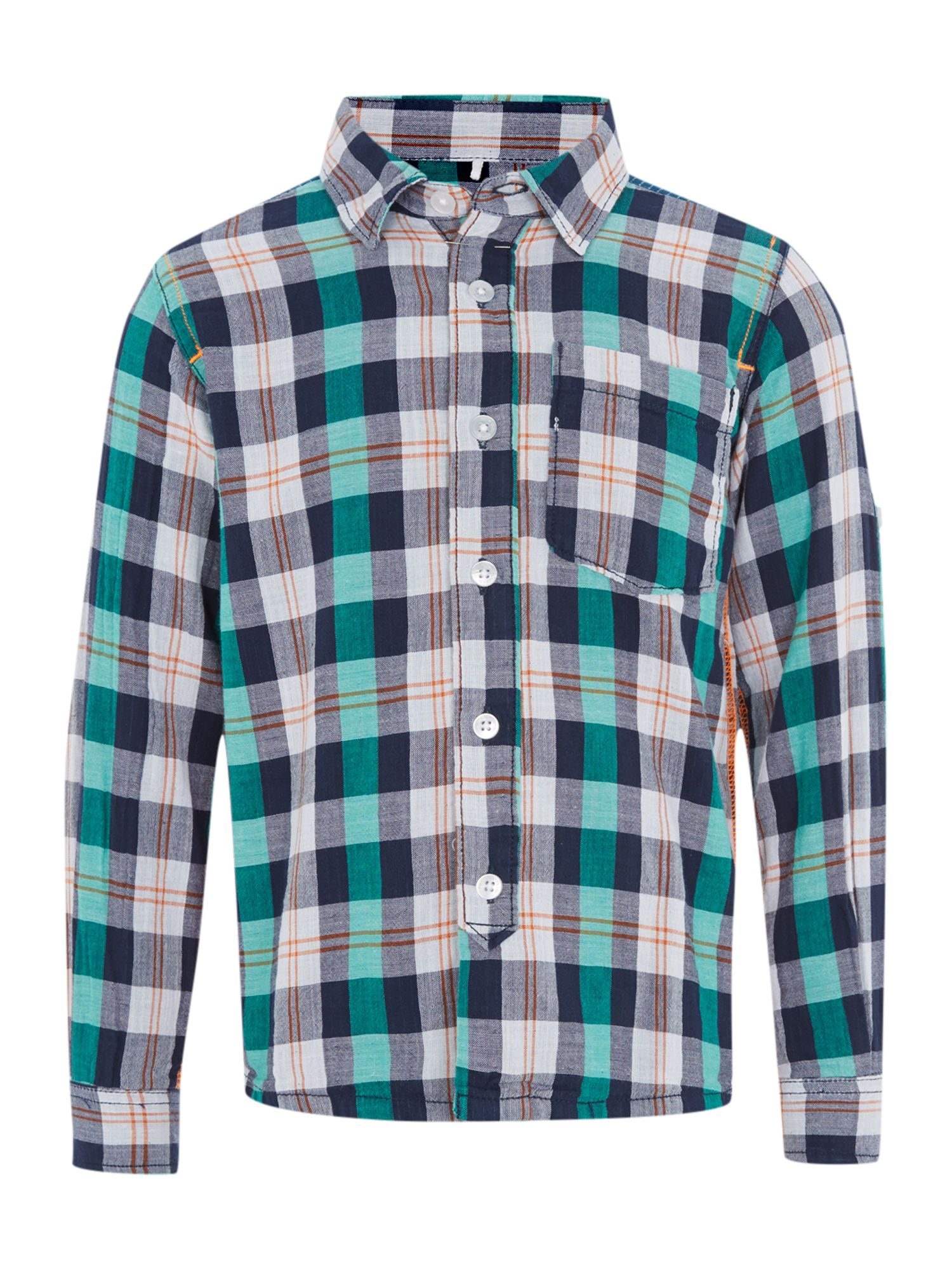 Boys check shirt with roll sleeve