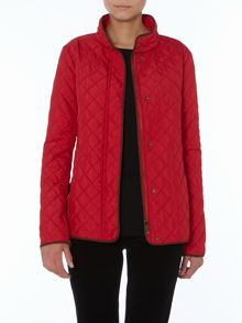 Quilted jacket with faux suede pocket tabs