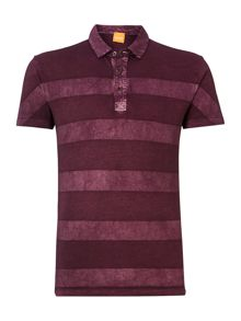 Short sleeve washed stripe polo shirt