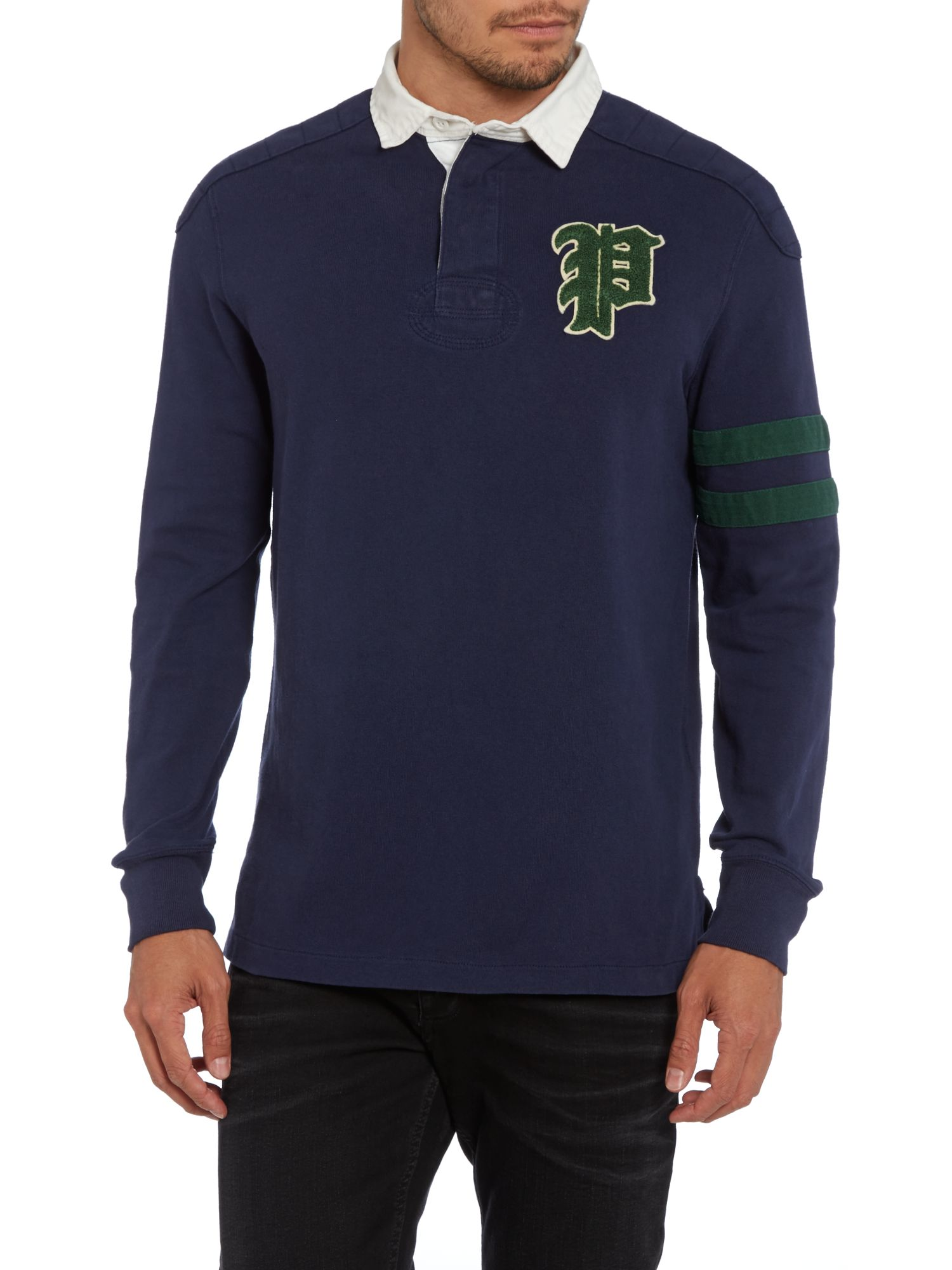 Long sleeve rugby shirt with shoulder patch