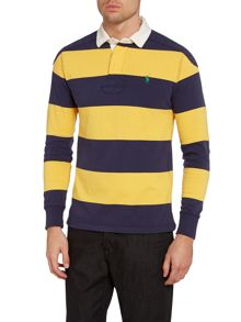 Long sleeve block stripe rugby shirt