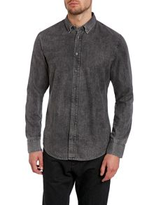 Long sleeve black denim shirt