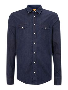Long sleeve indigo two pocket shirt