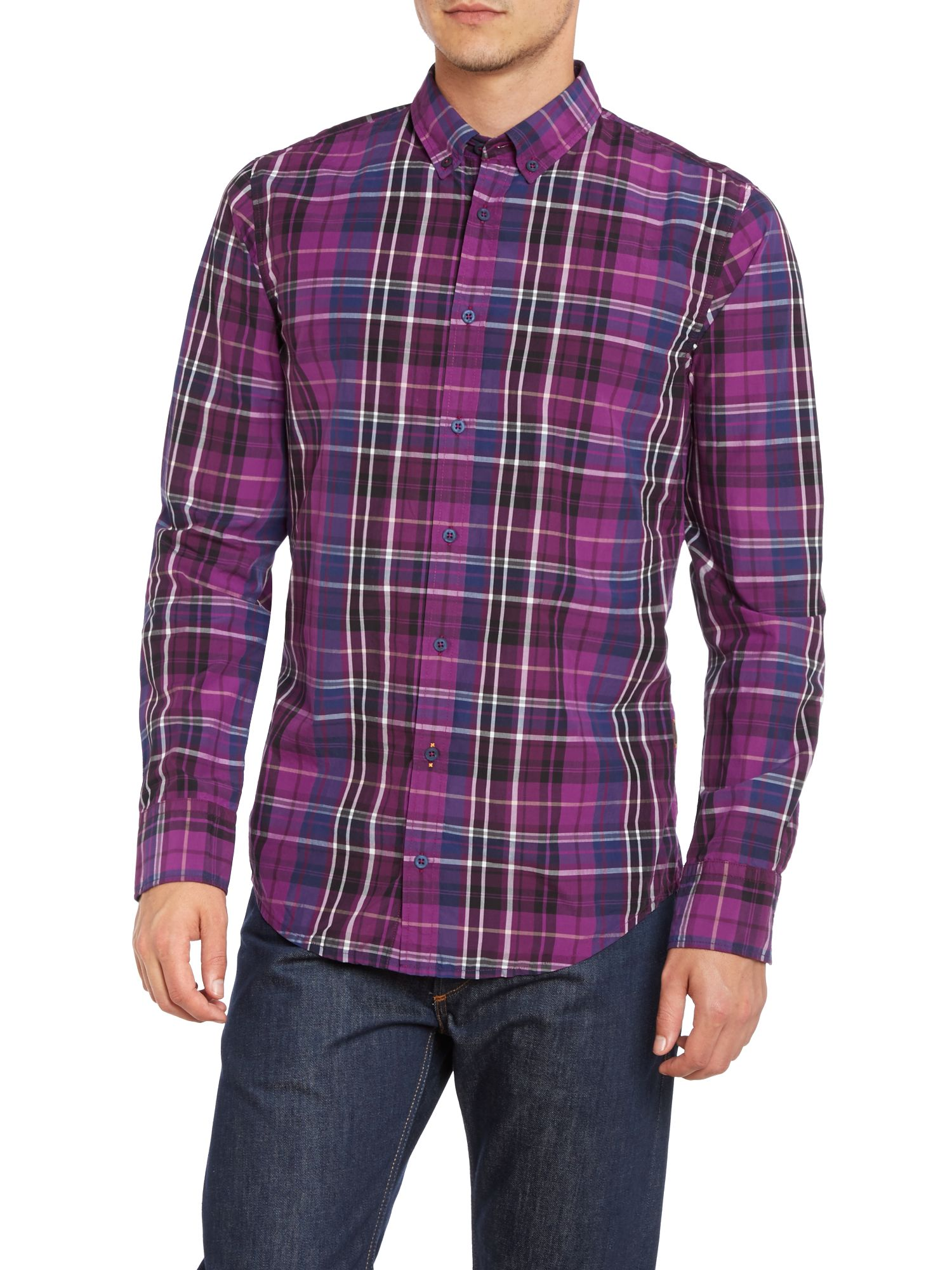 Long sleeve washed check shirt