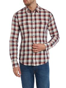 Long sleeve nep western check shirt