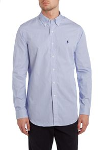 Long sleeve custom fit thin stripe poplin shirt