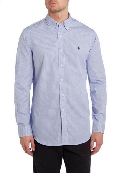 Polo Ralph Lauren Long Sleeve Custom Fit Thin Stripe Poplin Shirt