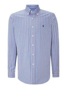 Long sleeve custom fit multi stripe shirt