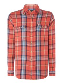 Long sleeve custom fit large check shirt