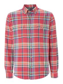 Long Sleeve Custom Fit 2 Pocket Multi Check Shirt