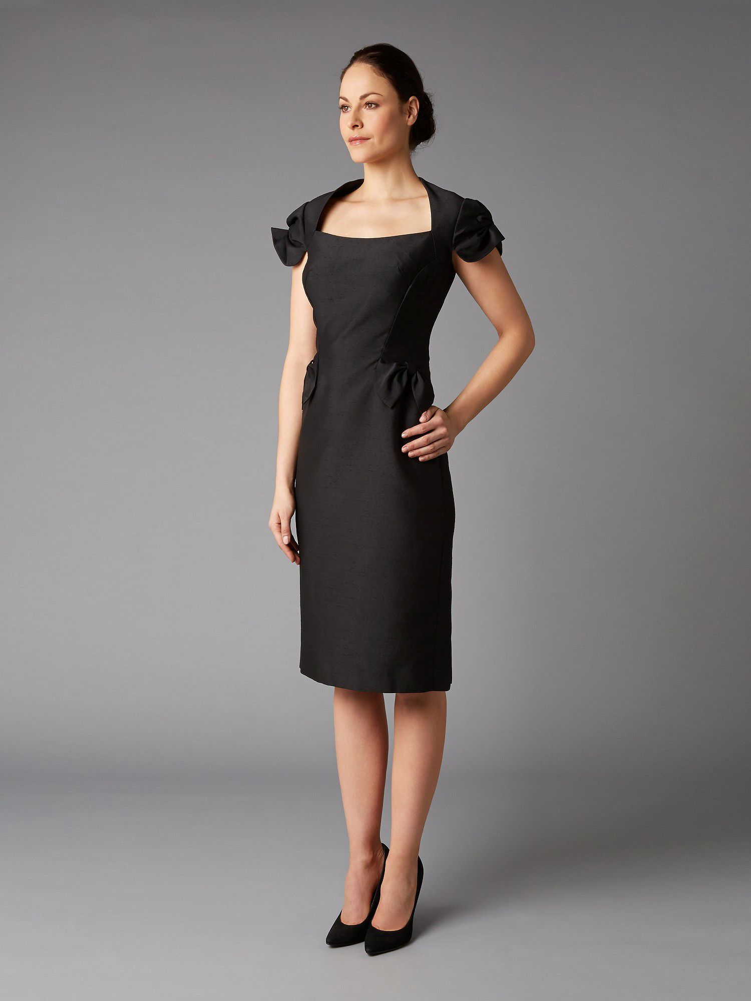 Lorcan Mullany Black Shantung Bow Dress