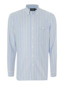 Long Sleeve Custom Fit Blue Stripe Shirt