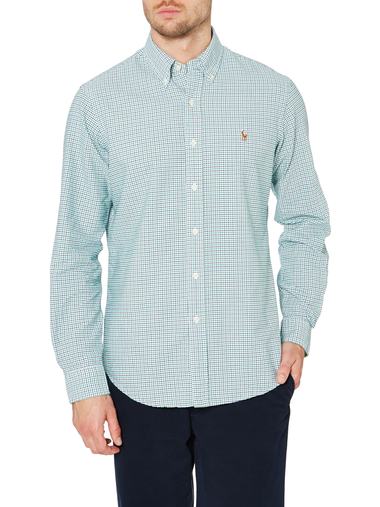 Long sleeve custom fit green mini gingham shirt