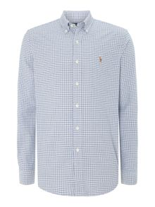 Long sleeve custom fit blue mini gingham shirt