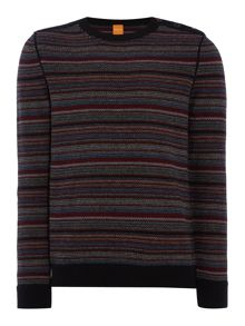 Crew neck stripe button shoulder jumper
